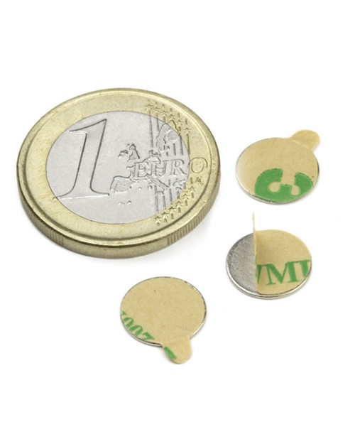 Magnet Supermočan okrogli, premera 10 mm x 0,6 mm - samolepilni